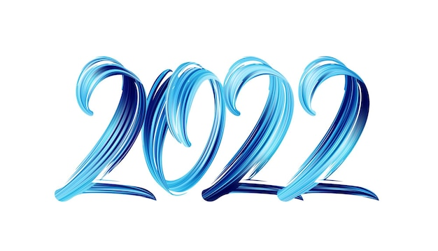 Vector illustration: hand drawn brush stroke blue color paint lettering of 2022. happy new year