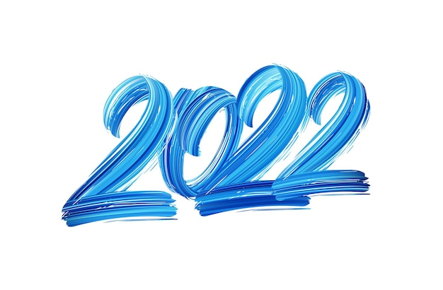 Vector illustration: hand drawn brush stroke blue paint lettering of 2022. happy new year.