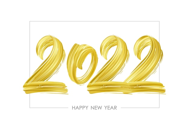 Vector illustration: hand drawn brush stroke golden paint lettering of 2022. happy new year.