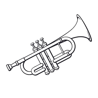 Vector illustration hand drawn doodle of classical music wind instrument trumpet
