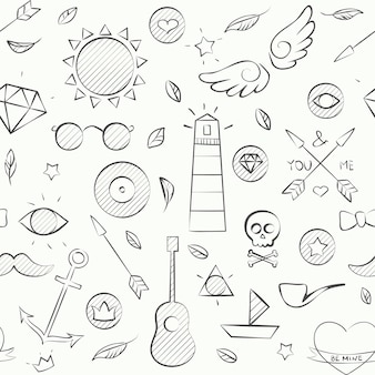 Vector illustration of hand drawn doodle hipster seamless pattern. hand drawn background over white.