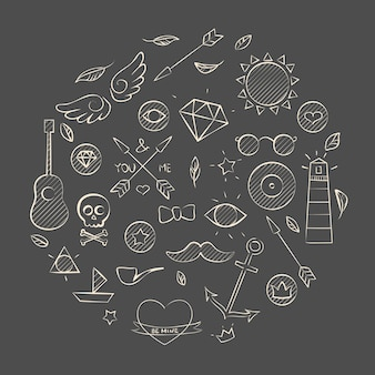 Vector illustration of hand drawn doodle hipster set over brown. hand drawn background.