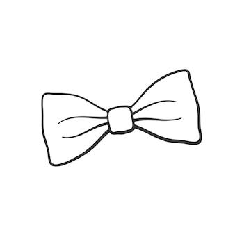 Векторная иллюстрация рисованной каракули битник ретро галстук-бабочка винтаж элегантный галстук-бабочка