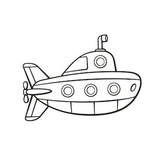 Векторная иллюстрация рисованной каракули подводной лодки с перископом и иллюминаторами