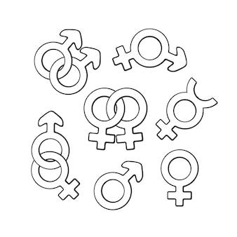 Vector illustration hand drawn doodle set of gender symbols gender pictograms cartoon sketch