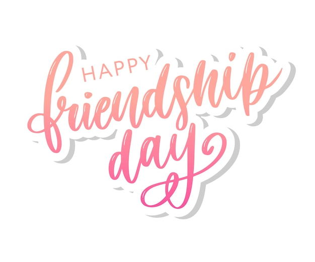 Vector illustration of hand drawn happy friendship day felicitation
