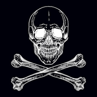 Vector illustration of hand-drawn human skull with crossed bones