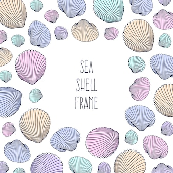 Vector illustration of hand drawn seashells in doodle style. beach design.