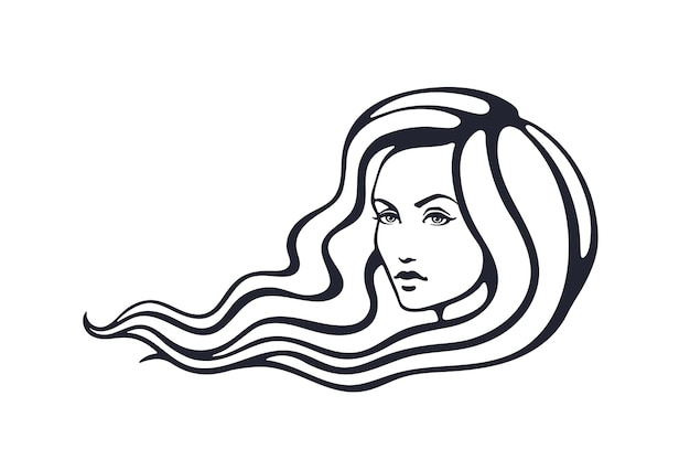 Vector illustration hand drawn sketch of beautiful woman with long hairs fashion and hairstyle