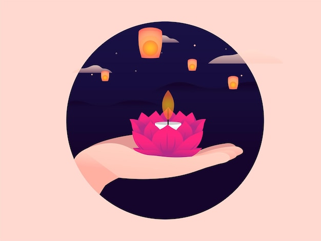 Vector illustration of a hand holding a candle and a sky filled with lanterns background