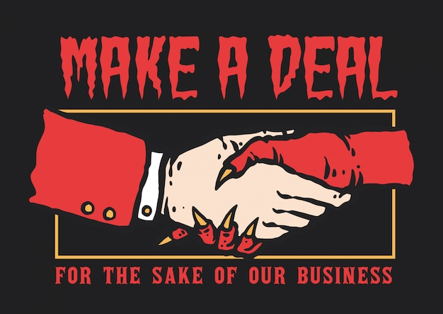 Vector illustration of hand shaking between man and devil make a deal for business