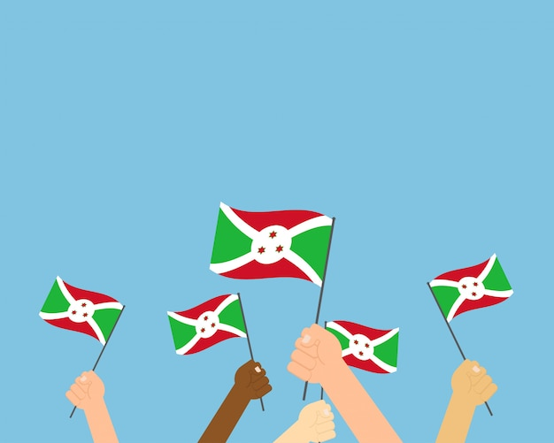 Vector illustration of hands holding burundi flags