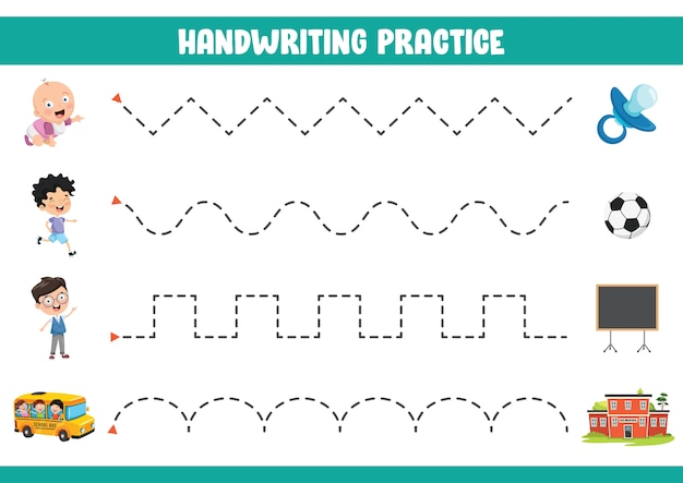 Vector illustration of handwriting exercise