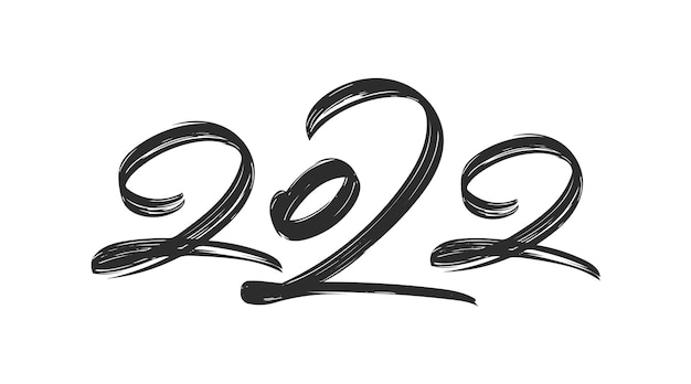 Vector illustration: handwritten brush ink lettering of 2022. happy new year. chines calligraphy