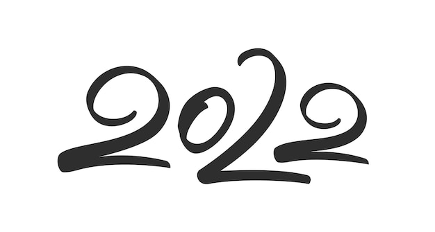 Vector illustration: handwritten brush lettering of 2022. happy new year. chines calligraphy