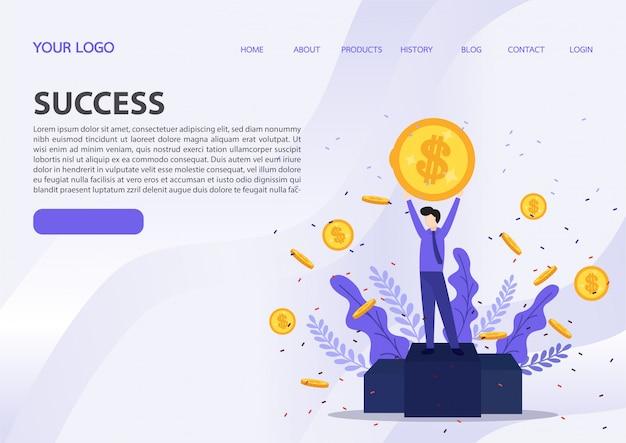 Vector illustration of happy business team celebrates success.