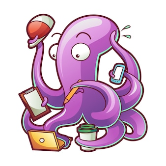 Vector illustration of an happy busy octopus