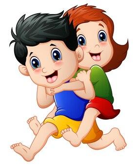 Vector illustration of happy children cartoon running