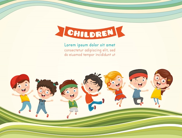 Vector illustration of happy children