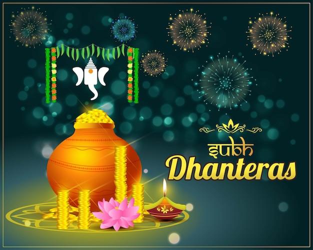 Vector illustration of happy dhantera indian hindu festival