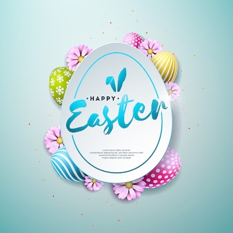 Vector illustration of happy easter holiday with and flower