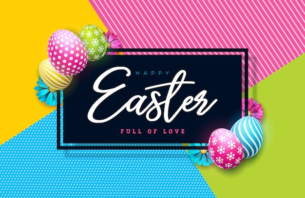 Vector illustration of happy easter holiday with painted egg