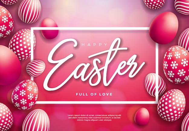 Vector illustration of happy easter with painted egg