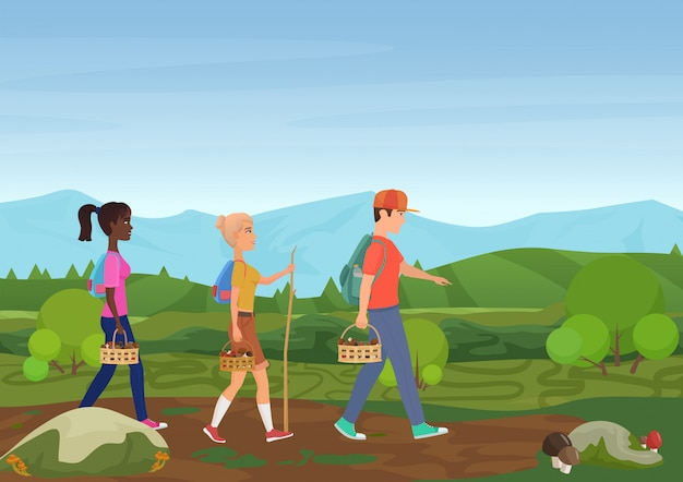 Vector illustration of happy friends walking in nature and picking the mushrooms.