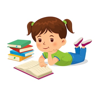 Vector illustration of happy girl reading a book