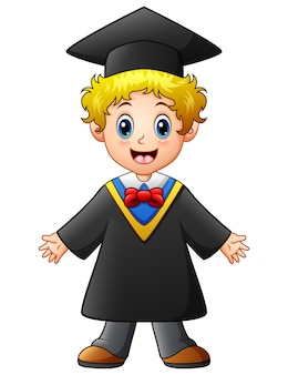 Vector illustration of happy graduation boy cartoon