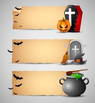 Vector illustration of happy halloween banners