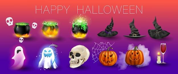 Векторная иллюстрация счастливый набор хэллоуина. может использоваться для плаката, баннера, поздравительной открытки, наклейки, флаера или фона. есть изображение элементов для вечеринки на хэллоуин. праздничный мультяшный цветной дизайн.