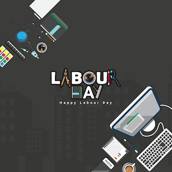 Vector illustration of happy labour day with stylish text