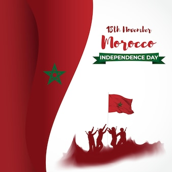 Vector illustration of happy morocco independence day