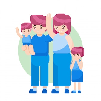 Vector illustration happy mother day family parent