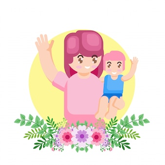 Vector illustration happy mother day parent