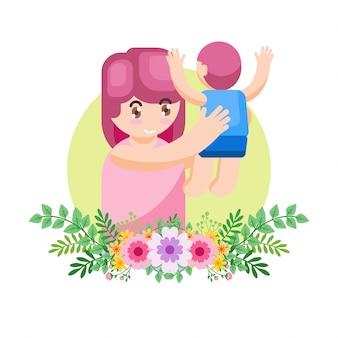 Vector illustration happy mother dayparent