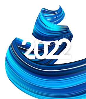 Vector illustration: happy new year. number of 2022 with twisted blue color paint stroke shape. trendy design.