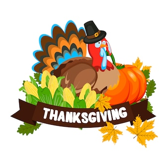 Vector illustration of a happy thanksgiving celebration design.