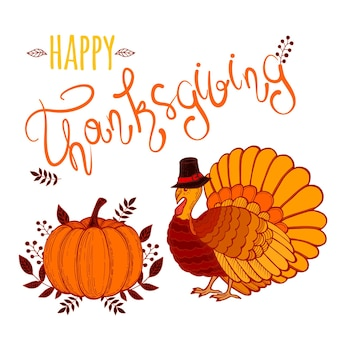 Vector illustration of happy thanksgiving turkey with custom designed lettering theme.