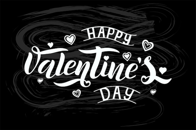 Vector illustration of happy valentines day text for greeting card, banner template.happy valentines day lettering typography poster.vector illustration of happy valentines day design on blackboard
