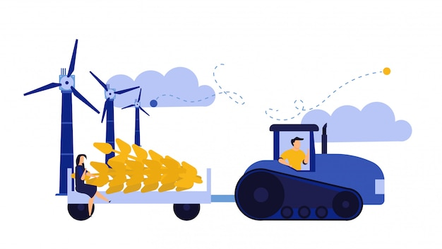 Vector illustration harvest wheat ears agriculture farmer. man with tractor and windmill crop work.