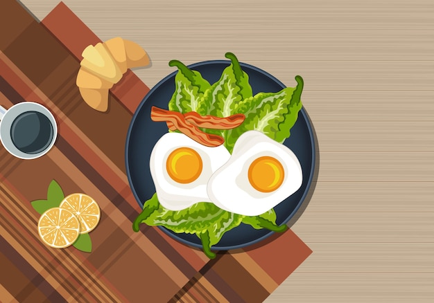 Vector illustration of healthy breakfast on the table coffee on desk
