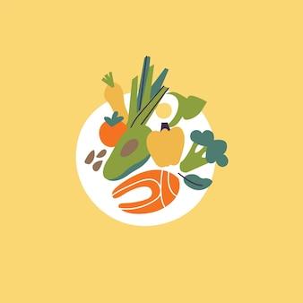 ベクトルイラスト健康食品の概念。緑、ナッツ、赤魚、野菜、アボカドがたっぷり入ったお皿。