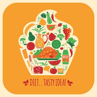 Vector illustration of healthy food.