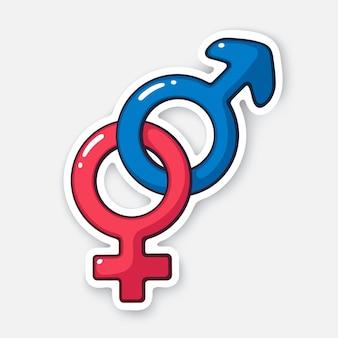 Vector illustration heterosexual gender symbol gender pictogram cartoon sticker