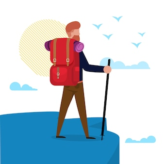 Vector illustration hiking to sea or ocean flat.