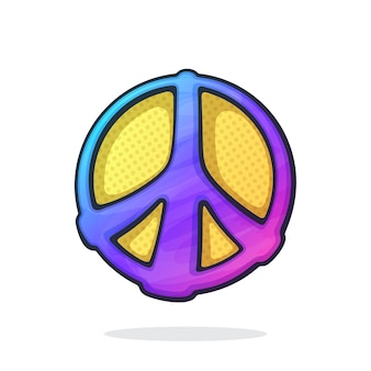 Vector illustration hippies colorful symbol of peace sign of pacifism and freedom