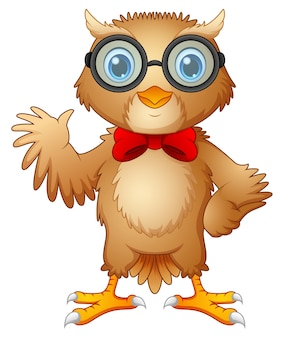 Vector illustration of hipster owl in glasses and bow tie