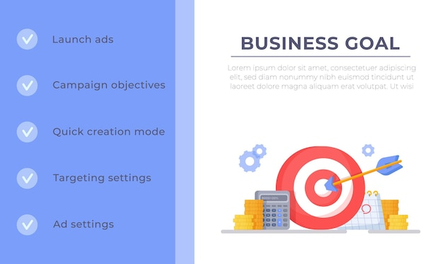 Vector illustration of hitting the target winning concept of success chart infographic template